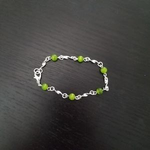 Silver & Green Twist Chain Bracelet